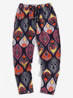 Floral Print Drawstring Bohemian Casual Pants - Cadetblue Xl