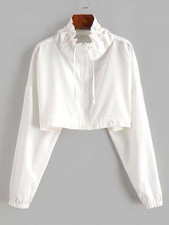 Veste Courte Zip En Avant à Cordon - Blanc Xl
