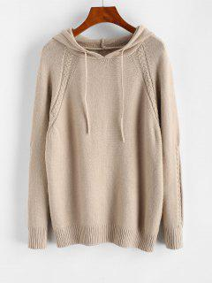 Hooded Raglan Sleeve Drawstring Sweater - Light Coffee