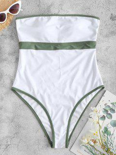 ZAFUL Binding Bandeau One-piece Swimsuit - White S
