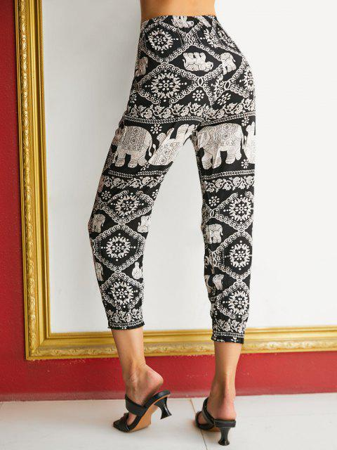 affordable High Waisted Printed Bohemian Jogger Pants - BLACK XL Mobile