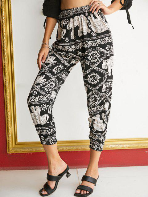 best High Waisted Printed Bohemian Jogger Pants - BLACK L Mobile