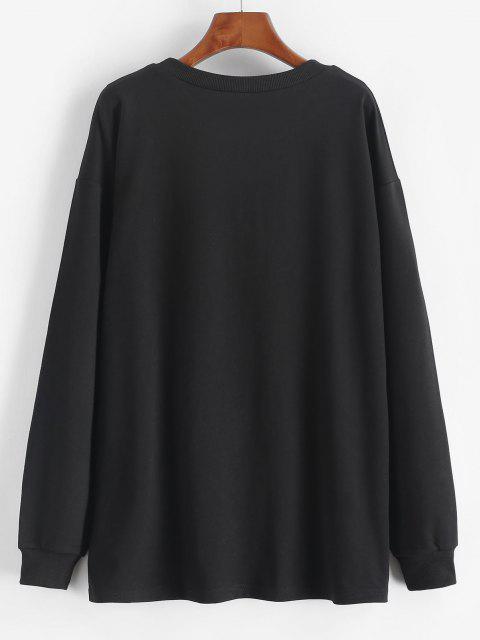 Sweat-shirt Lâche Imprimé Papillon et Fleur à Épaules Tombantes - Noir S Mobile