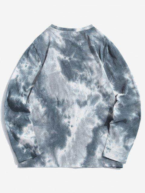 shop ZAFUL Face Figure Print Tie Dye T Shirt - LIGHT BLUE L Mobile
