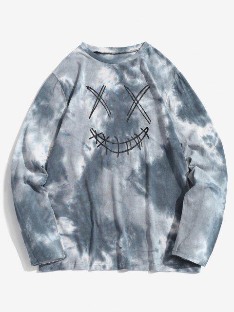 ZAFUL Camiseta de Mangas Compridas com Impressão de Tinta de Lapela - Azul claro M Mobile