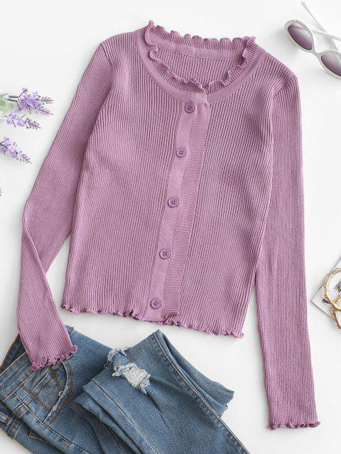 hot Button Up Ruffled Trim Solid Cardigan - PURPLE ONE SIZE Mobile