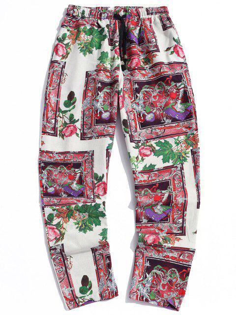 Pantalones Casual Estampado Floral Bohemio y Cordones - Blanco XL Mobile