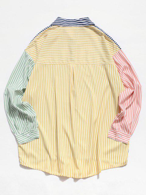 latest Contrast Striped Print Long Sleeve High Low Shirt - WHITE 2XL Mobile