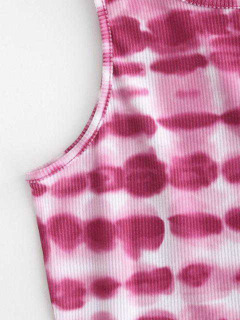 Canotta Racerback a Costine con Motivo di Tie-Dye - Rosa chiaro M Mobile