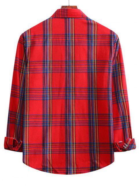 チェック柄長袖カジュアルシャツ - 溶岩赤 S Mobile