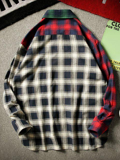 outfit Colorblock Plaid Panel High Low Shirt - GREEN M Mobile