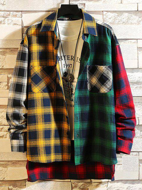 latest Colorblock Plaid Panel High Low Shirt - YELLOW 2XL Mobile