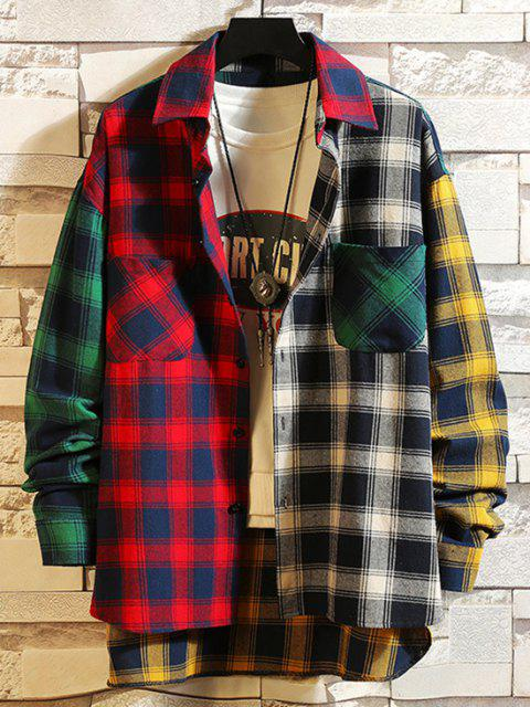 online Colorblock Plaid Panel High Low Shirt - RED 2XL Mobile