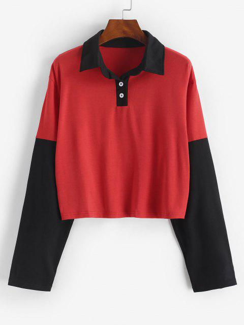 sale Button Front Two Tone Sweatshirt - RED L Mobile