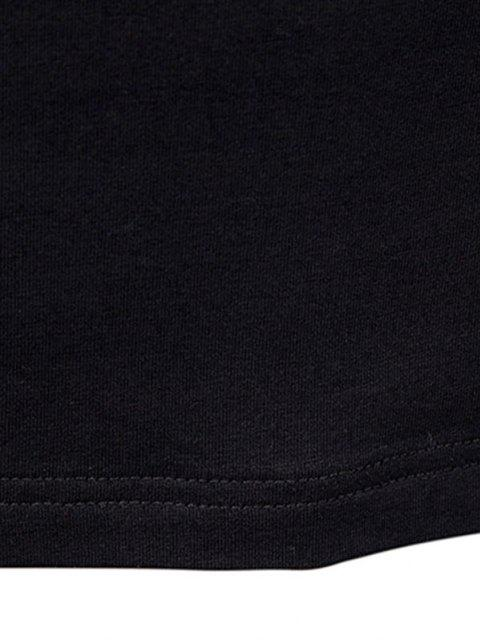 outfit Pure Color Zipper Sleeve Crew Neck Sweatshirt - BLACK XL Mobile