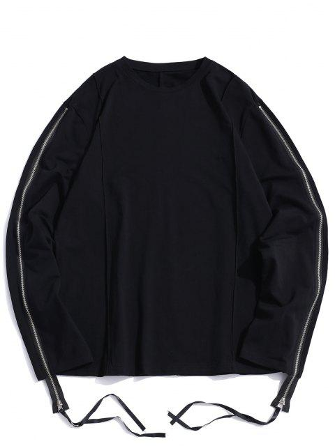 Pure Color Zipper Sleeve Crew Neck Sweatshirt - أسود 2XL Mobile