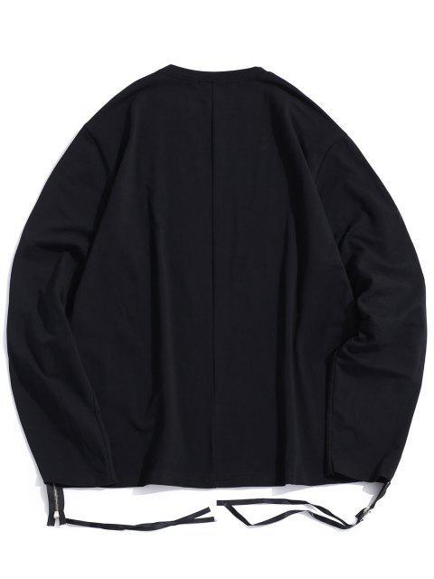 outfits Pure Color Zipper Sleeve Crew Neck Sweatshirt - BLACK 2XL Mobile
