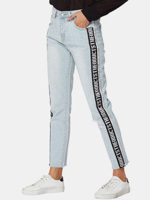 fancy Letter Side Distressed Frayed Straight Jeans - LIGHT BLUE M Mobile