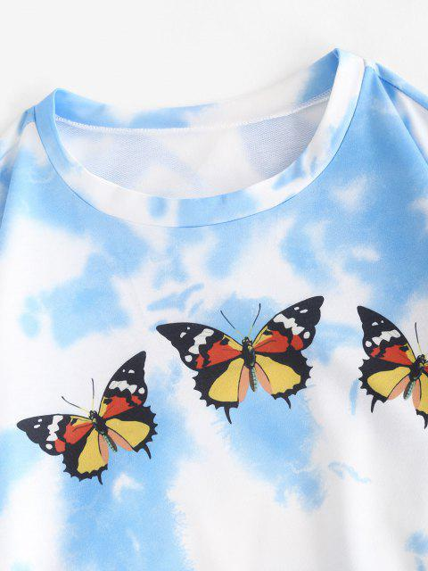 chic Tie Dye Butterfly Sweat Two Piece Set - BLUE S Mobile