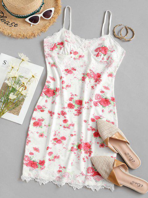 Bodycon Cami Kleid mit Blumenspitze - Weiß M Mobile