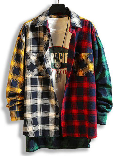 sale Colorblock Plaid Panel High Low Shirt - BLACK L Mobile