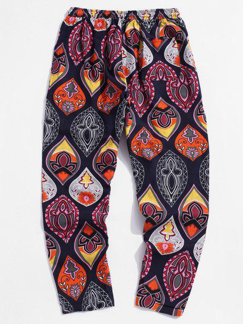 Pantalones Casual Estampado Floral Bohemio y Cordones - Cadetblue XL Mobile