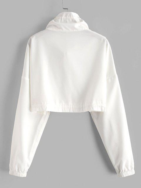 Zip Front Drawstring Cropped Jacket - أبيض XL Mobile