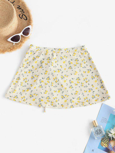online ZAFUL Lemon Print Ribbed Cinched Beach Skirt - YELLOW S Mobile