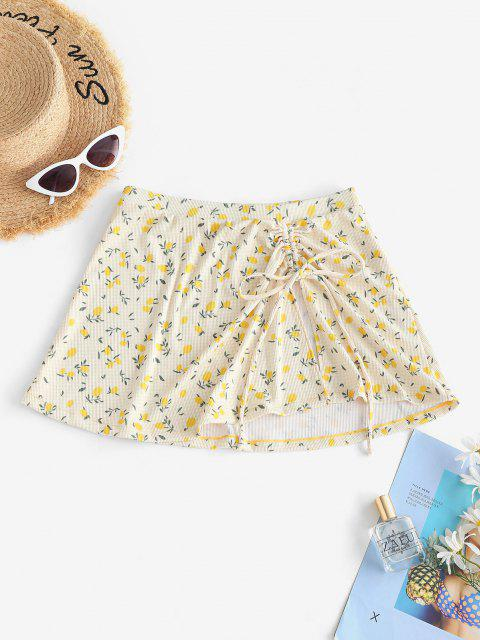 hot ZAFUL Lemon Print Ribbed Cinched Beach Skirt - YELLOW L Mobile