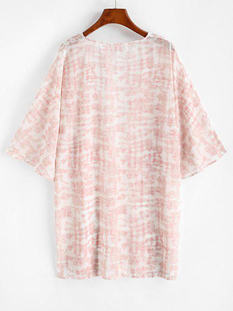 latest Tie Dye Kimono Cover Up - LIGHT PINK L Mobile