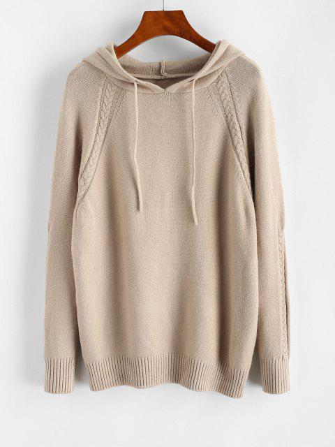 new Hooded Raglan Sleeve Drawstring Sweater - LIGHT COFFEE ONE SIZE Mobile