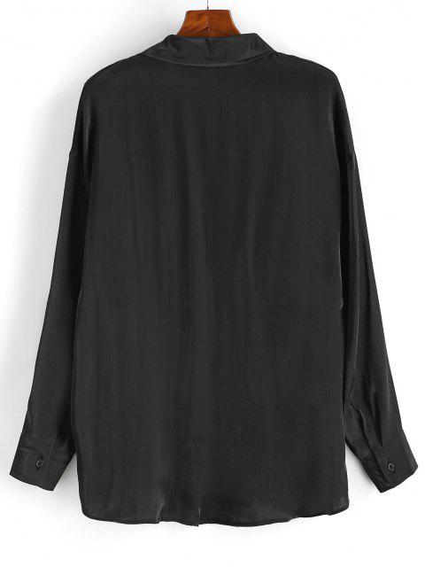 latest Long Sleeve Solid Color Button Up Shirt - BLACK XL Mobile