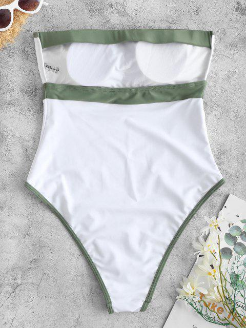 ZAFUL Binding Bandeau One-piece Swimsuit - أبيض S Mobile