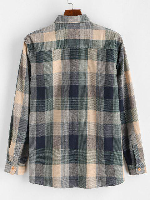 shops Colorblock Checked Button Up Long Sleeve Shirt - BLUE XS Mobile