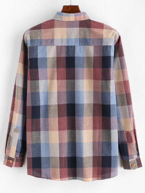 Chemise Boutonnée à Carreaux en Blocs de Couleurs à Manches Longues - Rouge S Mobile