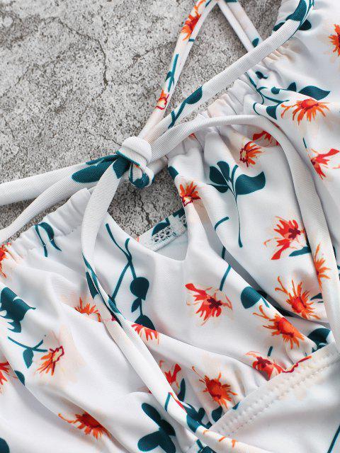 ZAFUL Tankini Badebekleidung mit Ditsydruck und Schulterbindung - Orange S Mobile