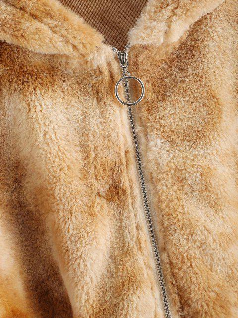 ZAFUL Manteau à Capuche Teinté en Fausse Fourrure - Bronze L Mobile