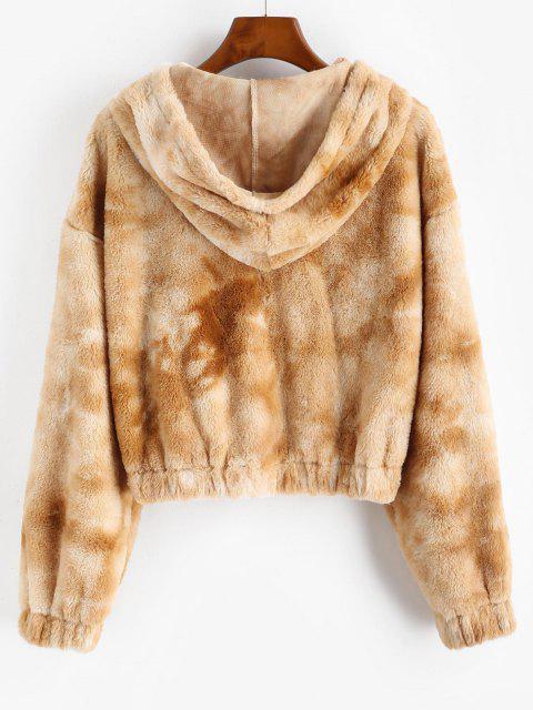 ZAFUL Hooded Tie Dye Faux Fur Coat - أسمر L Mobile