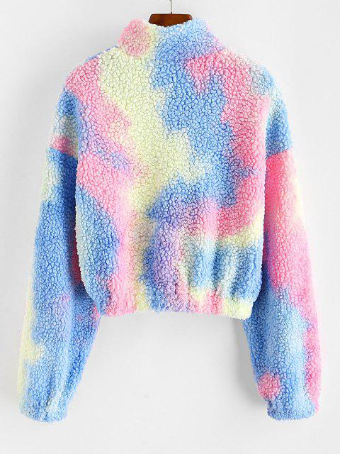 lady ZAFUL Half Zip Tie Dye Teddy Sweatshirt - MULTI-A M Mobile