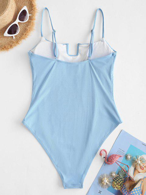 fancy ZAFUL U Bar Ribbed One-piece Swimsuit - LIGHT BLUE S Mobile