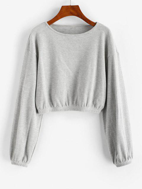 ZAFUL Knitted Crop Sweatshirt - رمادي فاتح XL Mobile