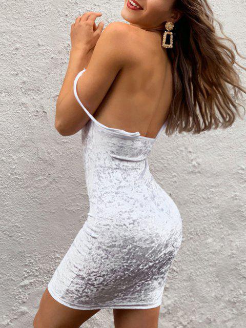 Cowl Front Velvet Bodycon Dress - أبيض M Mobile