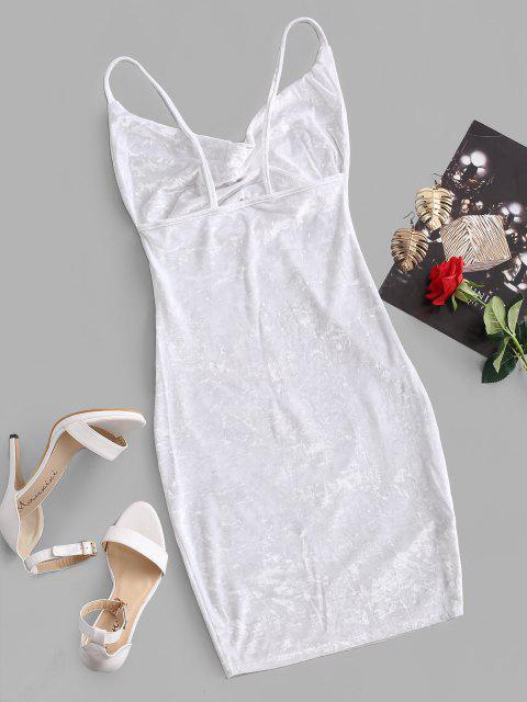fancy Cowl Front Velvet Bodycon Dress - WHITE M Mobile