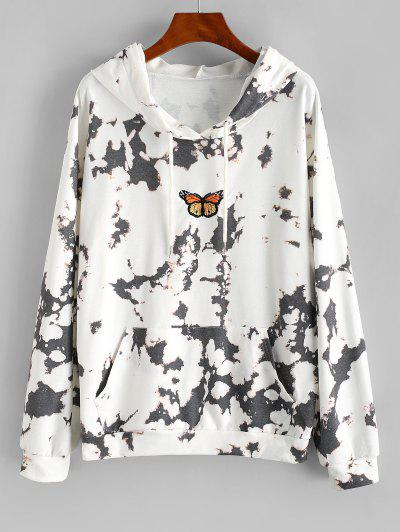 Tie Dye Butterfly Embroidered Drop Shoulder Hoodie - White L