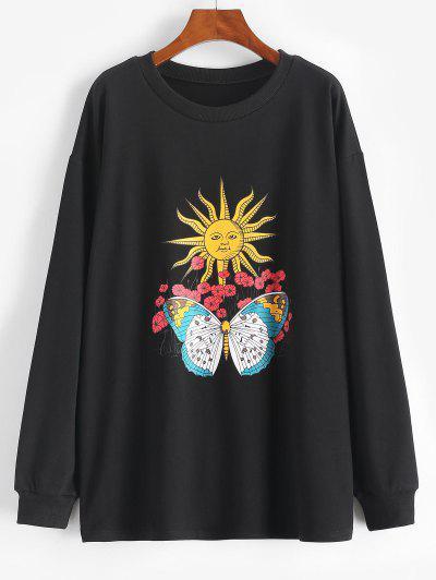 Sun Flower Butterfly Print Drop Shoulder Loose Sweatshirt - Black S