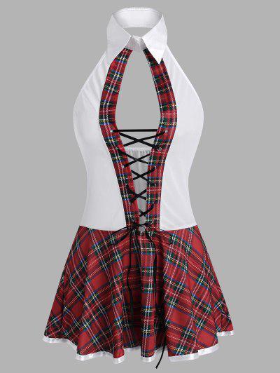Plaid Lace-up Cutout Mesh Lingerie Dress Set - Red S
