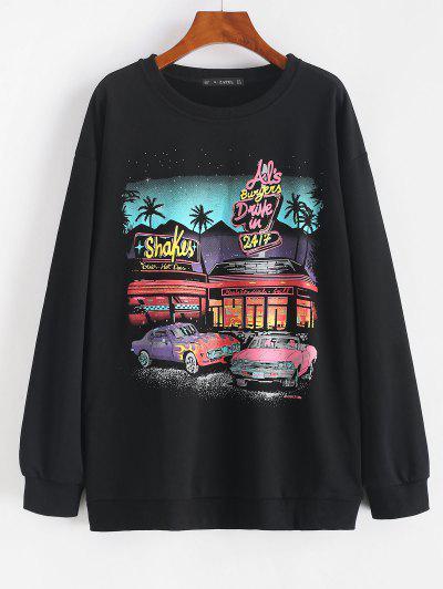 Letter Car Print Drop Shoulder Loose Sweatshirt - Black L