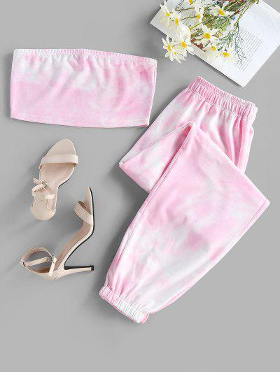 ZAFUL Tie Dye Strapless Jogger Pants Set - Light Pink S