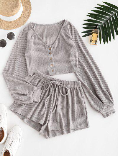 Ribbed Knit Two Piece Shorts Set - Gray S