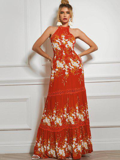 Sleeveless Floral Crochet Panel Maxi Dress - Red M